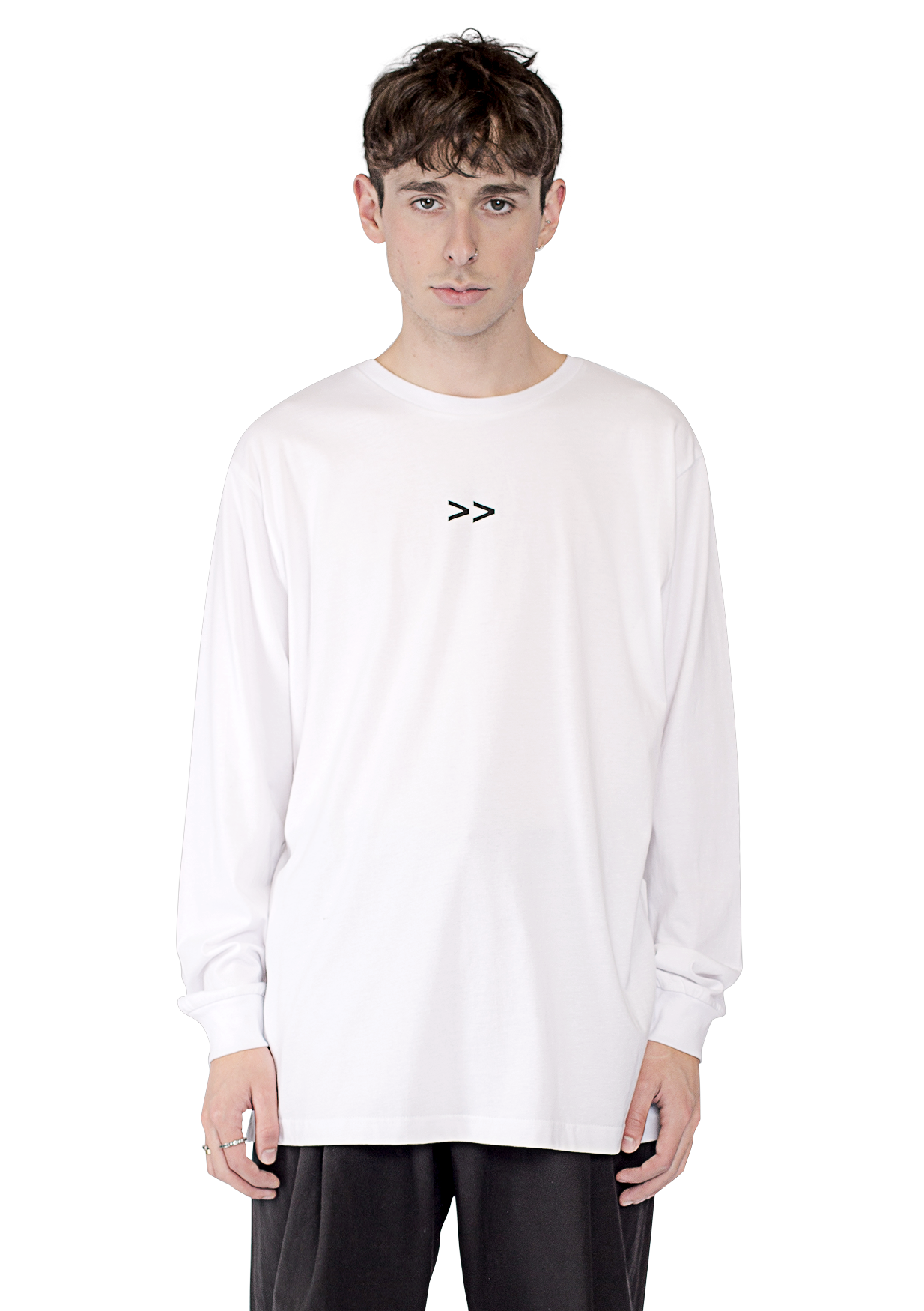 Multipoint L/S box print t-shirt