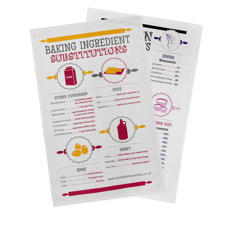 Kitchen Conversion and Baking Substitutes Tea Towel Gift Set