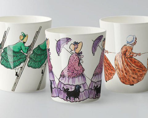 Mugs: Elsa Beskow, Aunt Green, Aunt Brown and Aunt Lavender (no handle)