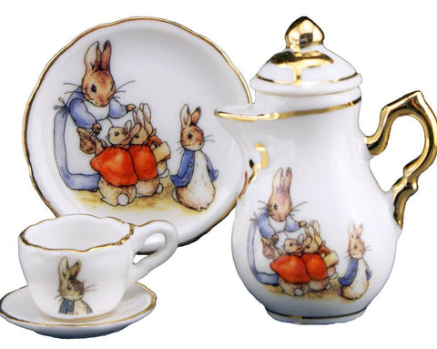 Porcelain Mini 4 Piece Tea Set: Peter Rabbit and Family