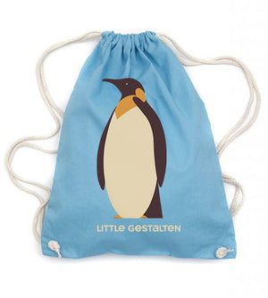 Drawstring Backpack: Turquoise Penguin Bag