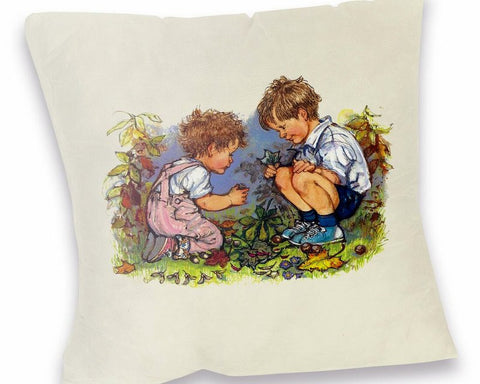 Cushion: Alfie and Annie Rose, Playing in the Garden