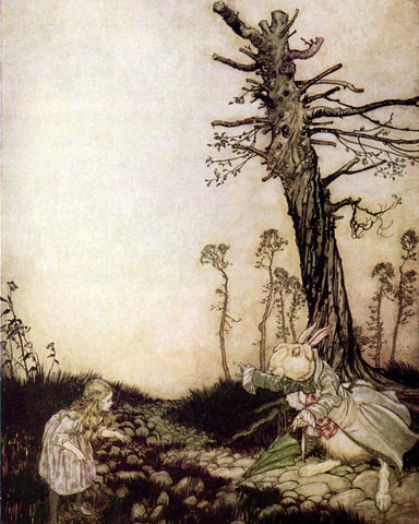 Print: Arthur Rackham - Alice in Wonderland, The White Rabbit