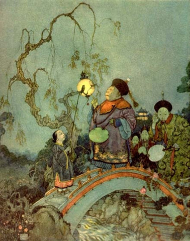 Print: Edmund Dulac - The Chamberlain Goes in Search of a Nightingale