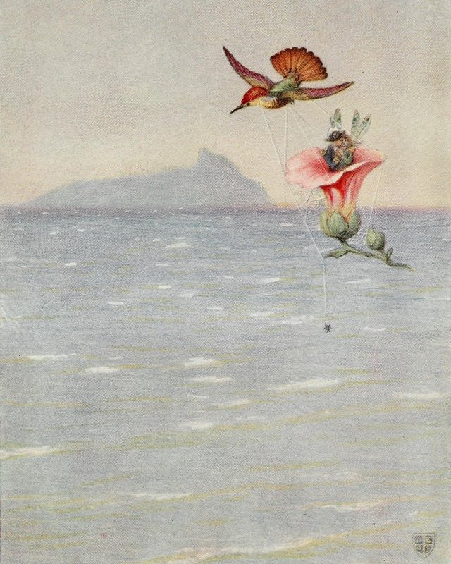 Print: Wind Fairies and Hummingbird by John Elliott