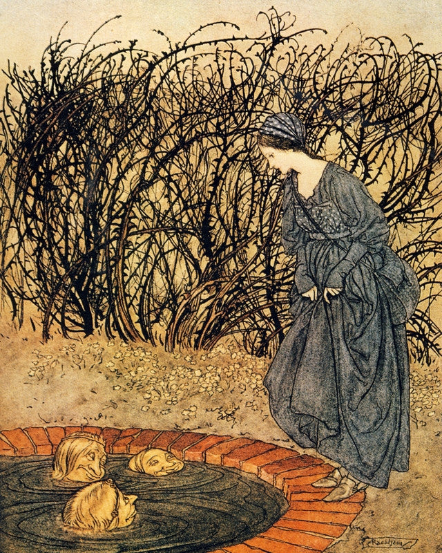 Arthur Rackham Print The Three Heads of the Well