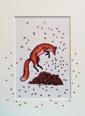 Print: Jenni Kilgallon - Fox Leaping in Leaves