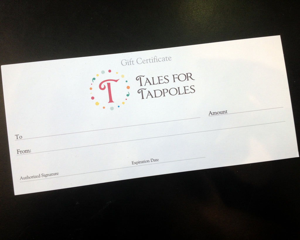 Tales for Tadpoles gift certificate