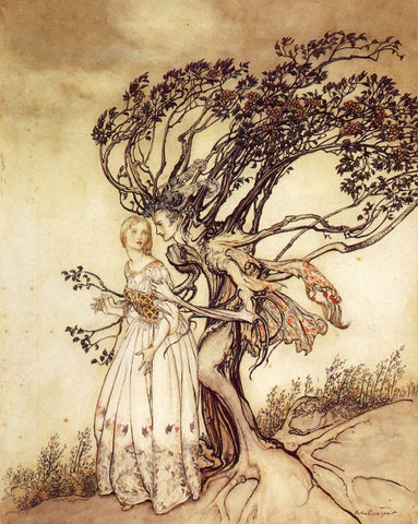 Print: Arthur Rackham - Fairy Tales, The Old Woman in the Wood