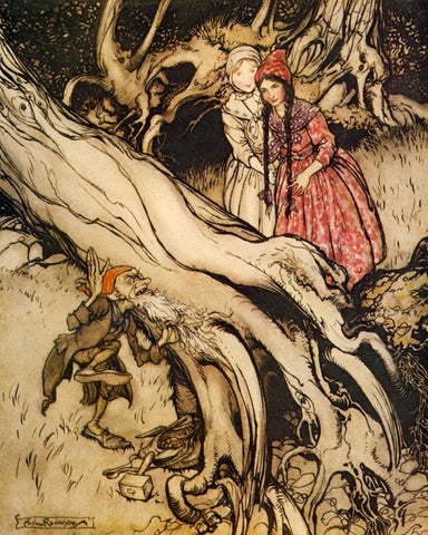 Print: Arthur Rackham - Snow White and Rose Red