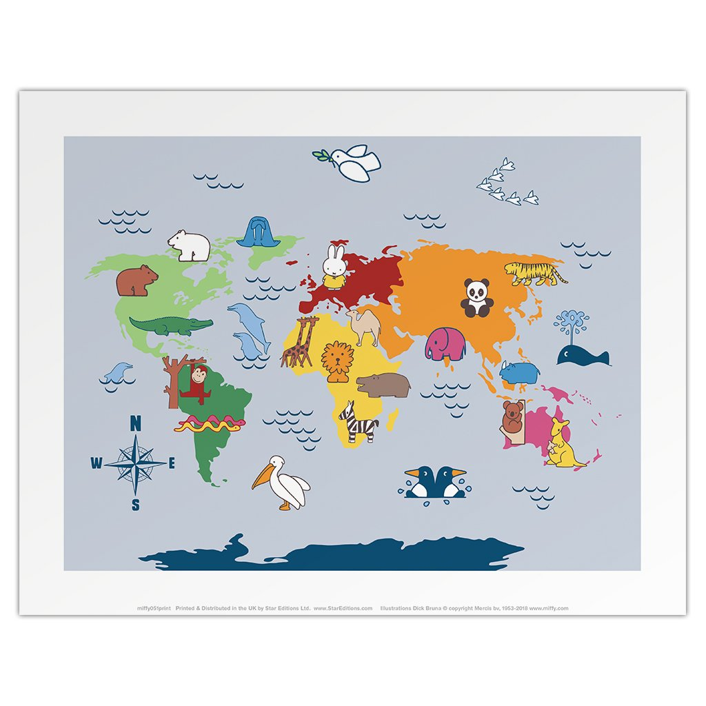 Print: Miffy (map with animals)