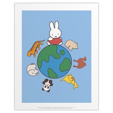 Print: Miffy, World with Animals