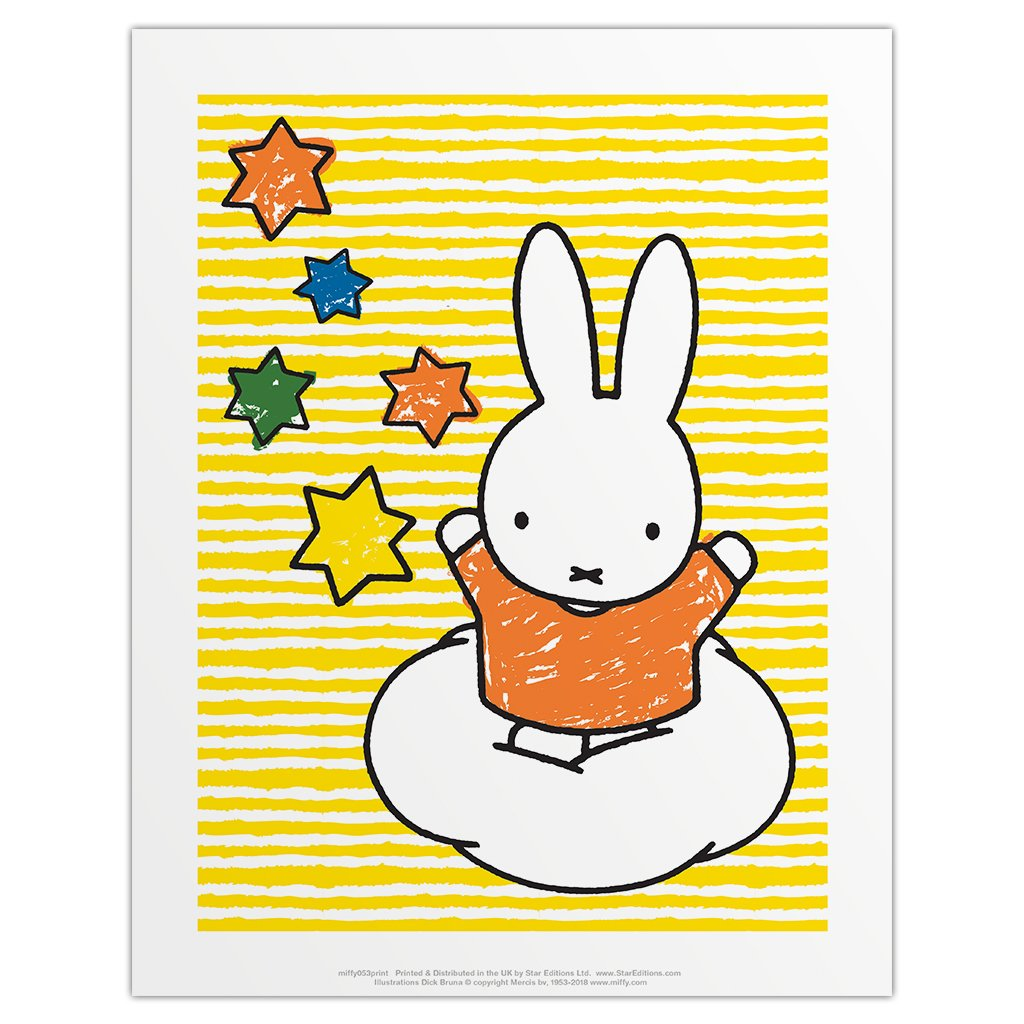 Print: Miffy Stars and Yellow Stripes