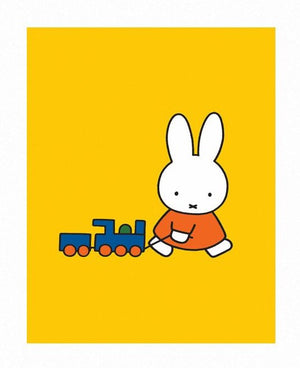 Miffy with Train Print by Dick Bruna