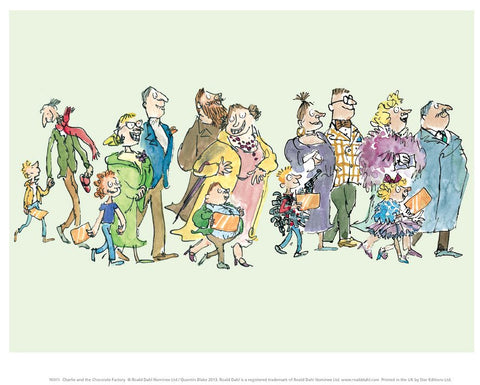 Print: Roald Dahl - Charlie and the Chocolate Factory, Queuing