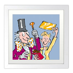 Print: Roald Dahl - Charlie and the Chocolate Factory - Golden Ticket (Mounted)