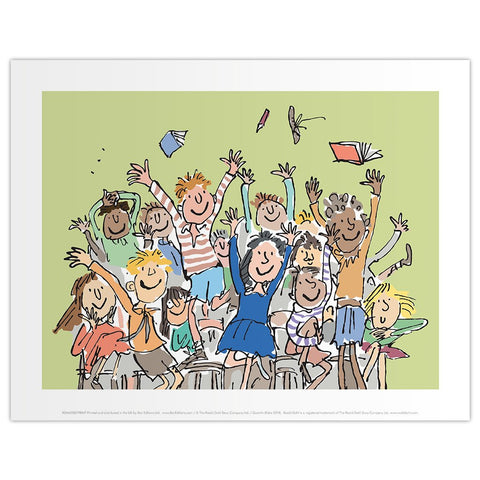 Print: Roald Dahl - Matilda, Children throwing books