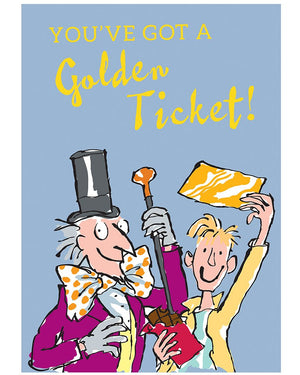 Roald Dahl Print Golden Ticket