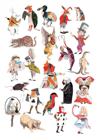 Print: James Barker - Alice in Wonderland characters A3 (signed)