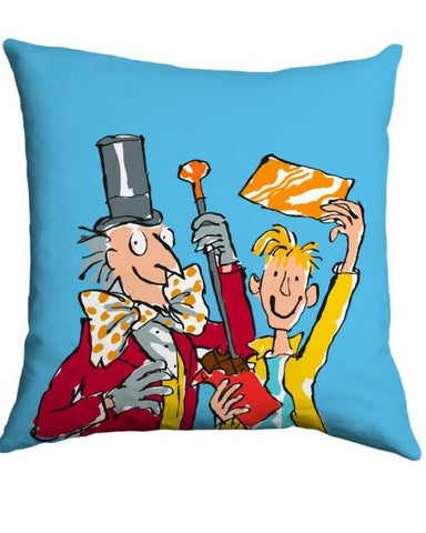 Cushion: Roald Dahl, Charlie and the Chocolate Factory (Blue)
