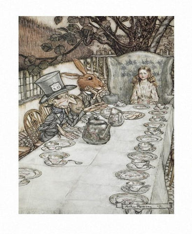 Print: Arthur Rackham - Alice in Wonderland, Mad Hatter's Tea Party