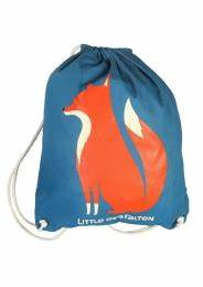 Drawstring Backpack: Blue Fox