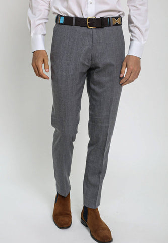 Grey Suit Trousers (100% Wool) Trousers Koy Clothing