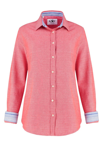 Kikoy Shirt - Coral Red Ladies Shirts Koy Clothing