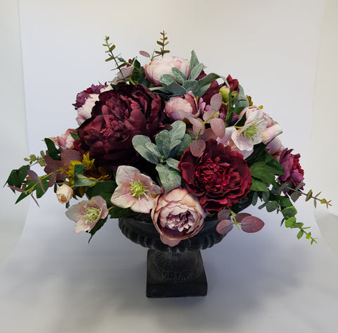 Pink and Burgundy Urn
