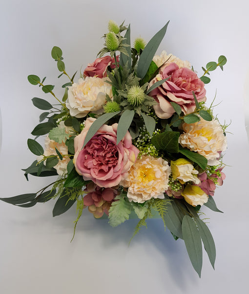 Dusty Pink and Apricot Array Silk Arrangement