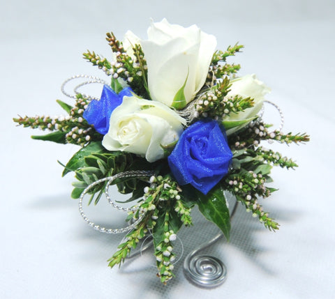Florist Choice: Blue & White Wrist Corsage
