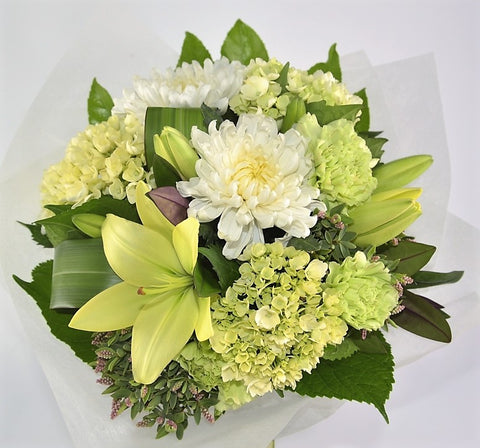 White and Green Posy of Flowers