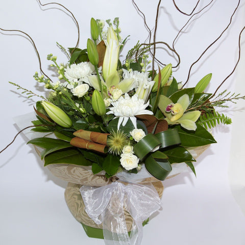 Florist Choice: White and Green Bouquet or Waterbox