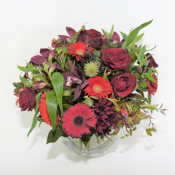 A Rich red posy in a Vase