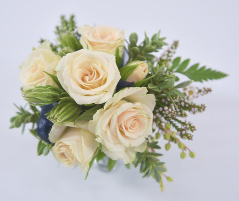Florist Choice: Soft Peach Wrist Corsage