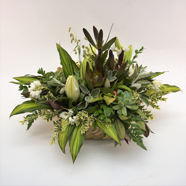 Florist choice: Flax Box Arrangement in White and Green Tones