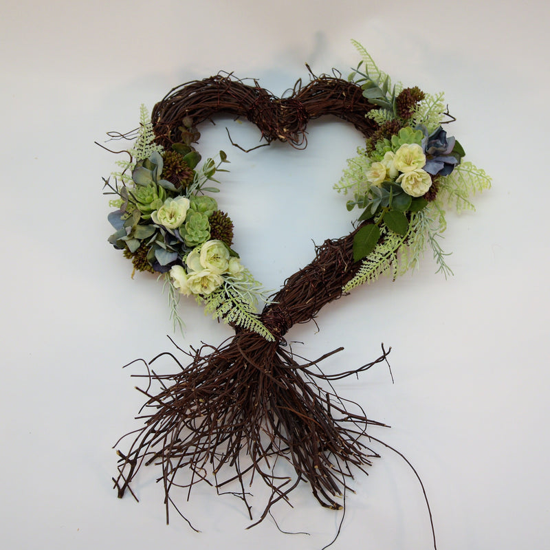 Cream Muehlenbeckia Heart Wreath