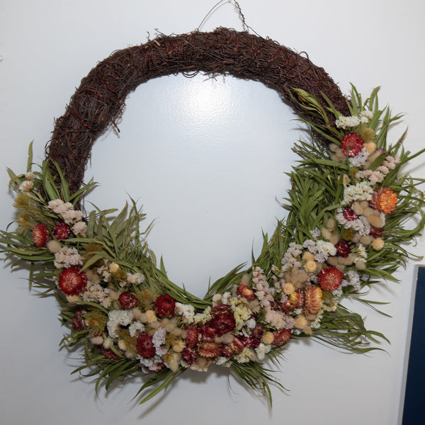 Red, Green and White Dried Wreath