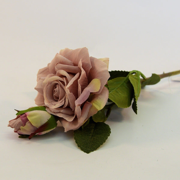 Artificial Silk Rose with a bud