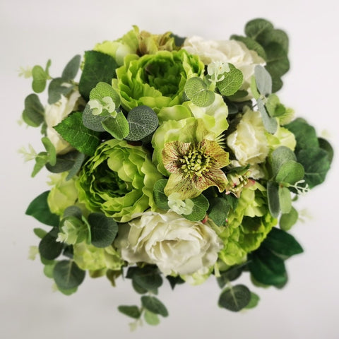 White and Green Silk Flowers