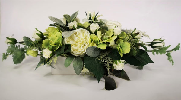 White and Green Silk Floral Arrangement