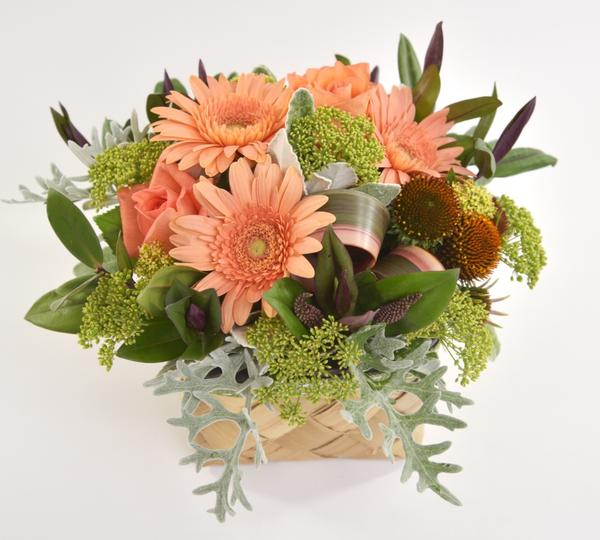 Florist choice: Flax Box Arrangement in Apricot Tones