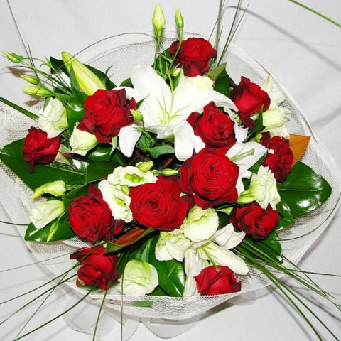 Red Roses, Lisianthus and Oriental Lilies