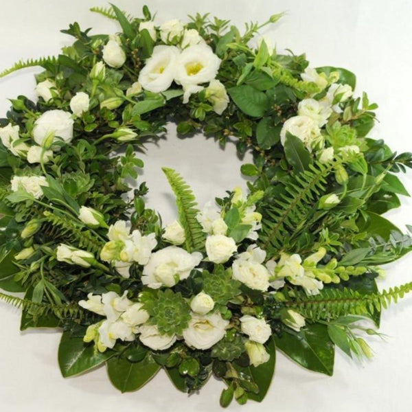 Classic Formal White & Green Wreath