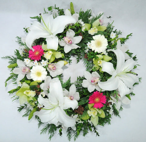 Pretty White Formal Wreath