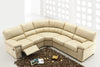 Electric Recliner Contemporary Cream Leather Sectional Sofa 613ER