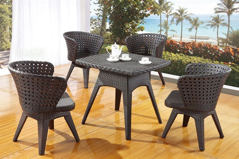 5 Piece Poly Rattan Contemporary Patio Dining Set 763