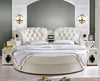 King Size Round Bed in Tufted White Leather with Speakers BF05-45034
