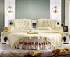 King Size Round Bed in Tufted Cream Leather with Speakers BF05-45035