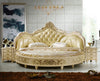 King Size Gold Round Bed with Gold Upholstered Headboard BF05-45038